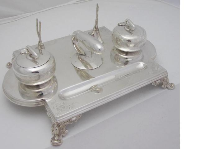 Of curling interest, a late Victorian electroplated desk set