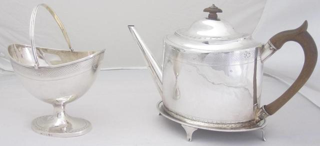 A George III silver teapot, teapot stand and sugar basket by Francis Howden, Edinburgh 1797  (3)