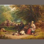 John Anthony Puller (British, active 1821-1867) Gypsy encampment
