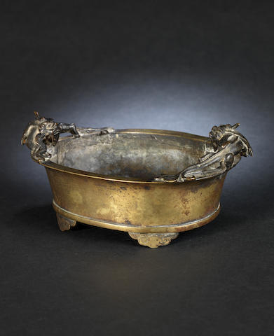 A Chinese bronze twin handled dish