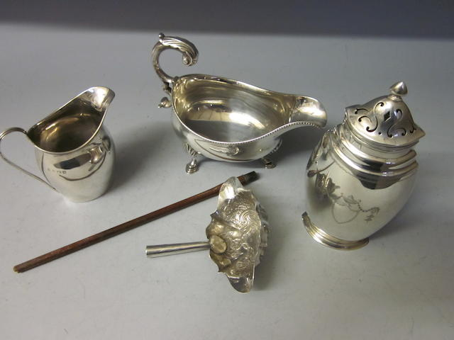 A George III silver sauce boat,  marks rubbed,   (4)