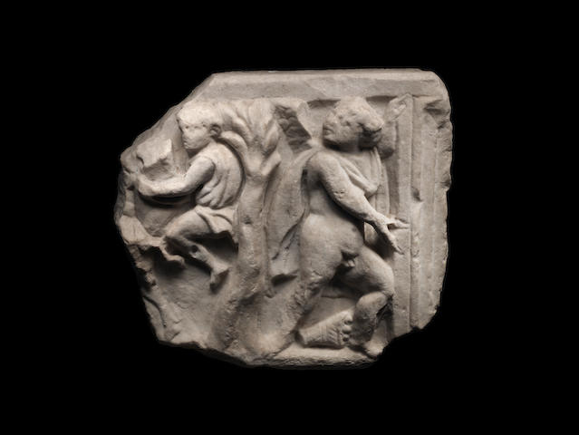 Roman marble figural carved frieze fragment, wood stand