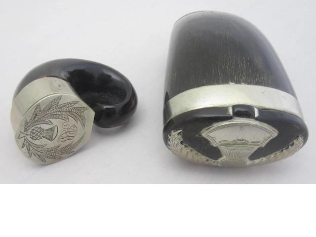 A 19th century ram's horn snuff mull