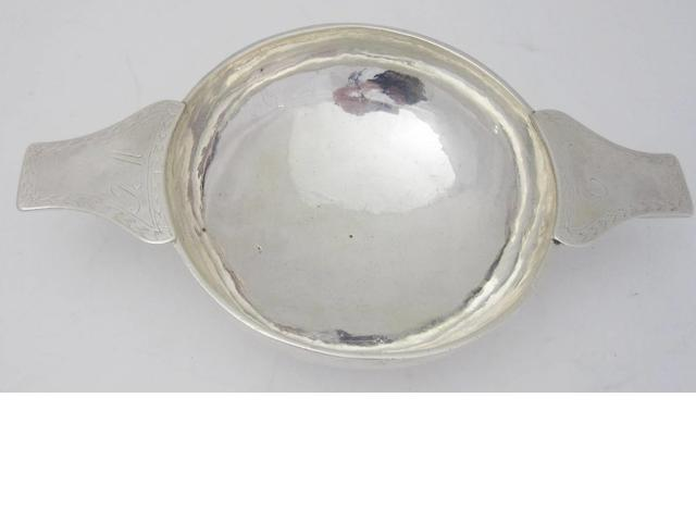 A George II silver quaich marks rubbed, Edinburgh, possibly by James Kerr, circa 1740