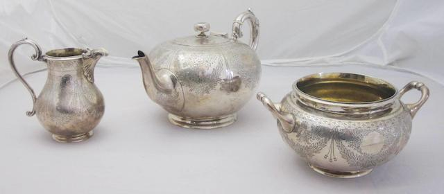 A Victorian three piece silver tea service by William Mortimer, Edinburgh 1866  (3)