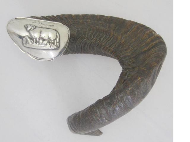 A 19th century silver mounted ram's horn table snuff mull
