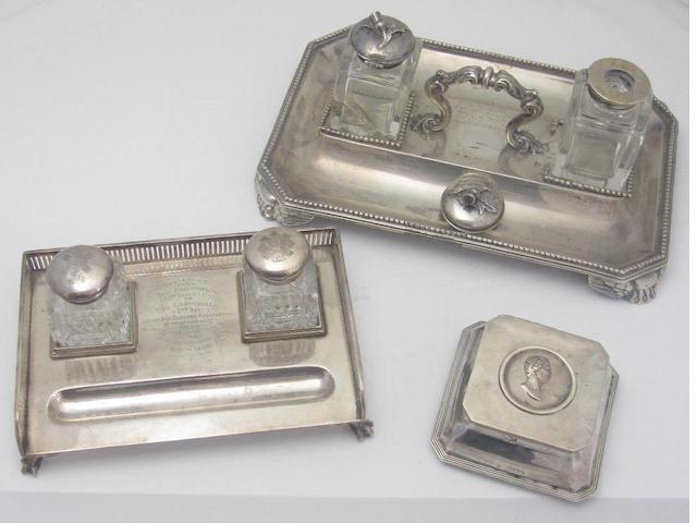 A Victorian silver presentation ink stand by Stephen Smith, London 1868