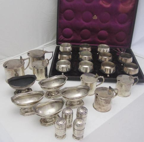 A collection of silver condiments various makers and dates  (Qty)