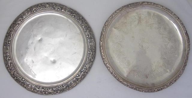 A Victorian silver salver   marks unclear, Edinburgh 1877  (2)