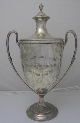 A twin handled silver presentation cup and cover by James Dixon & Sons Ltd, Sheffield