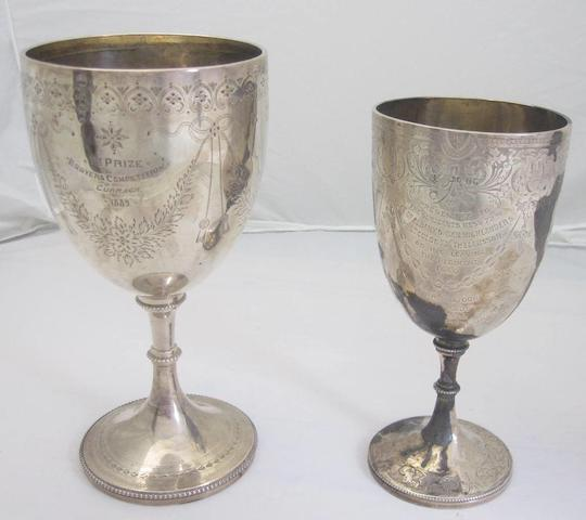 Two Victorian silver goblets