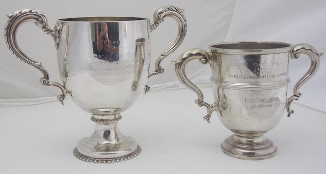 A Victorian twin handled silver presentation cup maker's mark WC/JL, London 1896  (2)