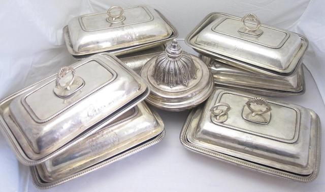 Three silver entree dishes marks rubbed, probably George III