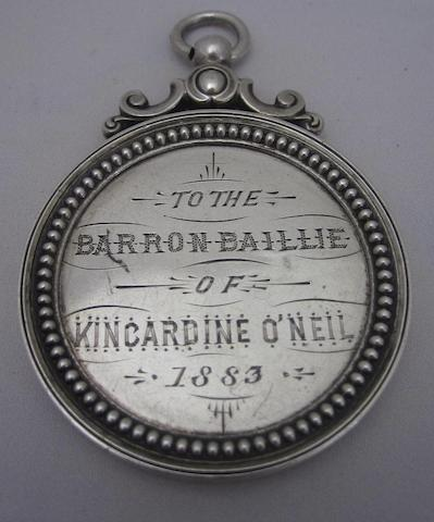 A Victorian silver medal unmarked, circa 1883