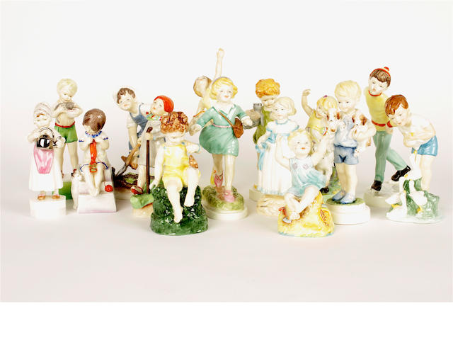 A group of fifteen Royal Worcester figures, modelled by Freda Doughty