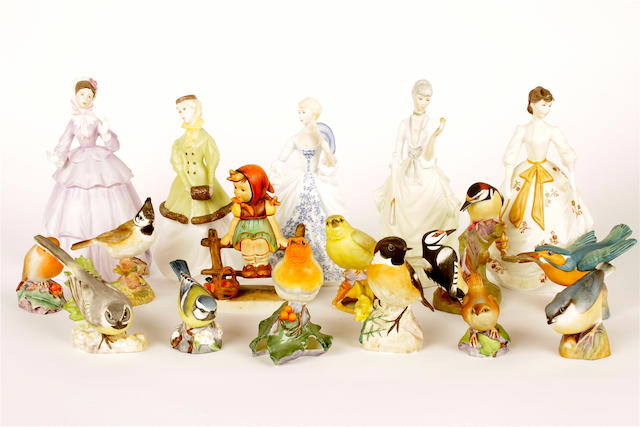 Five Royal Worcester figures, eleven Royal Worcester bird models and a Hummel figure