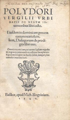 VERGIL (POLYDORE) De rerum inventoribus, 1540