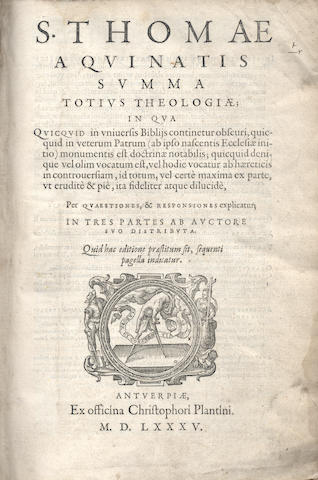 THOMAS AQUINAS, Saint. Summa totius theologiae, 7 parts in one vol., 1585; and another by Erasmus, 1515 (2)