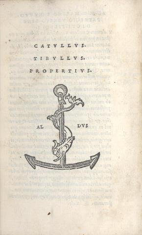CATULLUS, TIBULLUS & PROPERTIUS. [Opera], Aldine 1515