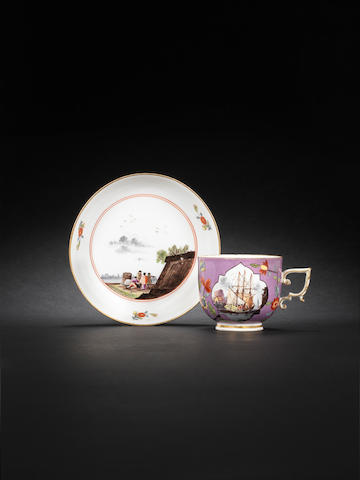 A purple-ground cup and saucer circa 1740