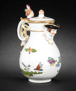 A Meissen jug and cover with sculptural spout and finial circa 1740