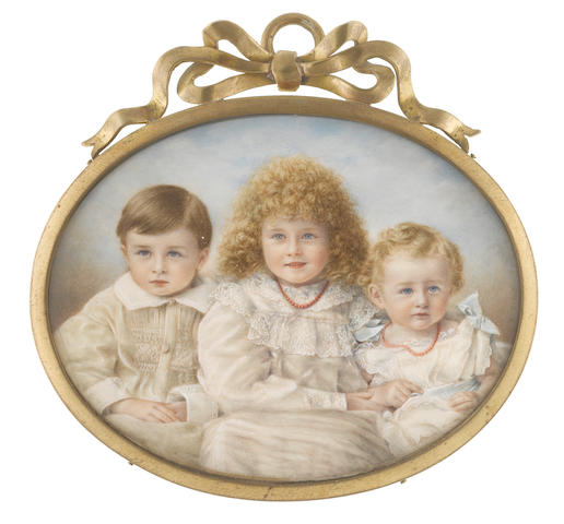 Ernest Rinzi (British, 1836-1909) A portrait of three Children of George Loyd Foster Harter (1852-1920): James Collier (1889-1917), Helen Elizabeth Frederica (b.1888) and Geraldine Nevill (b.1893), all seated; the former, wearing cream Russian-style smock with embroidery across his chest, white falling collar and cuffs, his brown hair worn short and parted to the right; his sister, Helen Elizabeth Frederica, wearing cream dress with two-tiered lace collar falling over her shoulders, coral necklace, her blonde hair curling and worn loose; her sister, Geraldine Nevill, wearing cream sleeveless dress, her neckline trimmed with lace, pale blue sash and ribbons to her shoulders, coral necklace, her blonde hair curled and worn short