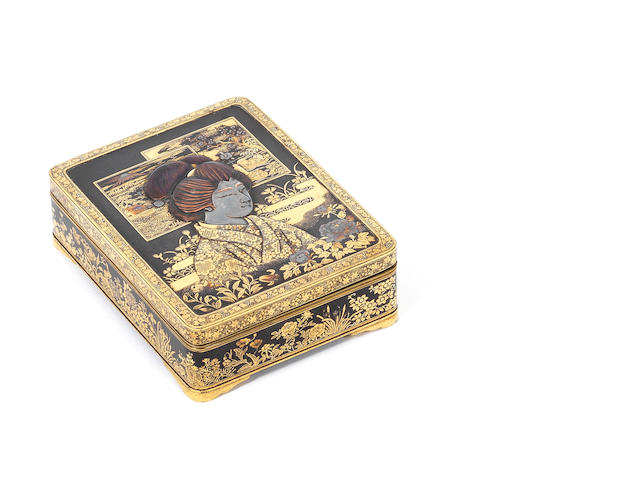 An inlaid iron rectangular tobacco box and cover By the Komai Company of Kyoto, Meiji Period