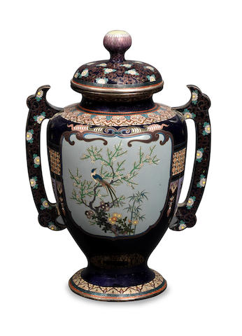 A cloisonné enamel baluster vase and cover Nagoya School, Meiji Period