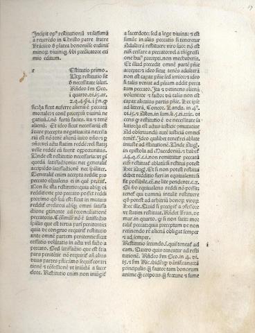 PLATEA (FRANCISCUS DE) Opus restitutionum, usurarum, excommunicationum, Venice, 1474