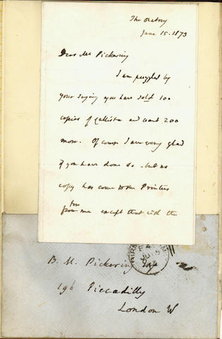 NEWMAN (JOHN) Lectures on Certain Difficulties Felt by Anglicans in Submitting to the Catholic Church, 3-page AUTOGRAPH LETTER SIGNED BY NEWMAN pasted-in, 1857