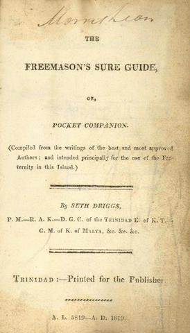 TRINIDAD - FREEMASONRY The Freemason's Sure Guide, or, Pocket Companion, 1819