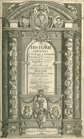 MARTYN (WILLIAM) The Historie and Lives of the Kings of England, from William the Conquerour to the End of the Reigne of King Henry the VIII... Whereunto is Now Added the Historie... [to] Q. Elizabeth, 2 parts in one vol., 1638