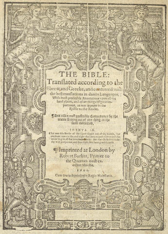 BIBLE, in English, Geneva version The Bible, Translated According to the Ebrew and Greeke, 1600