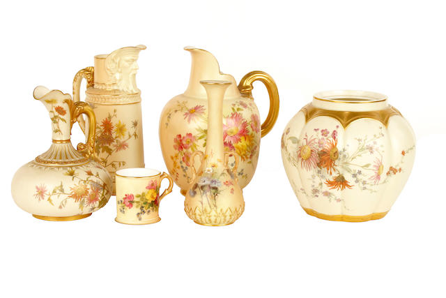 A group of 19th/20th Century Royal Worcester blush ivory wares,
