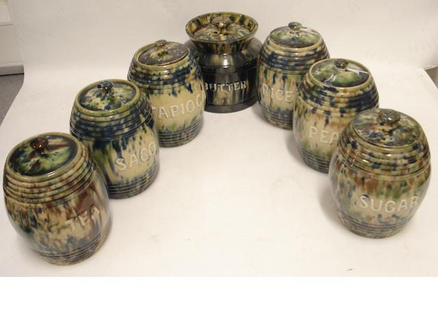 Seven Scottish pottery storage jars and covers By Morrison & Crawford, Rosslyn Pottery, Kirkcaldy