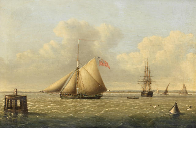 John Ward of Hull (British, 1798-1849) A schooner and a dolphin ???????????