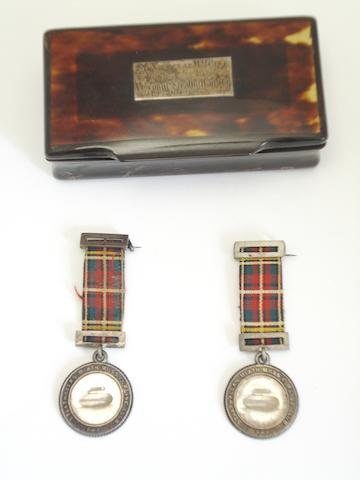 Of curling interest; Two presentation medals  (3)