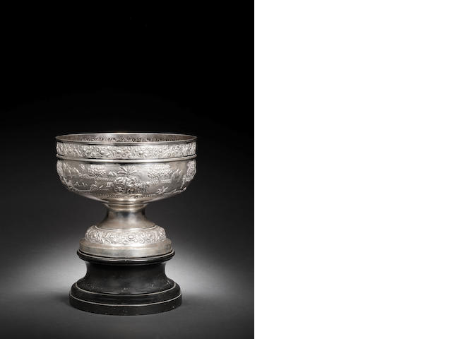A large silver bowl with base, by Grish Chunder Dutt late 19th Century(2)