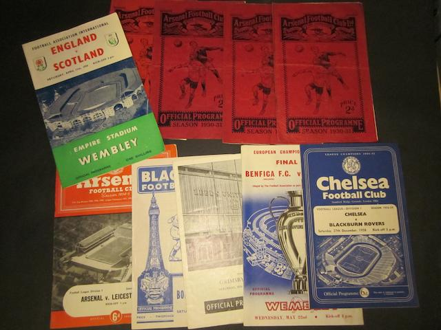 A collection of programmes including 1930's Arsenal