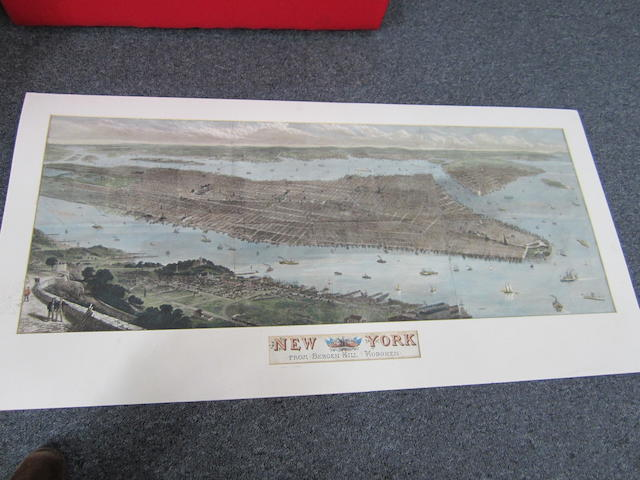 After Thomas Sulman New York city from Bergen Hill: Hobken From the Illustrated London News, August 19 1876, handcoloured panoramic map, mounted and titled 44 x 111cm