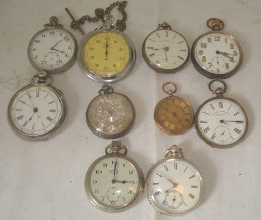 A late 19th Century open face fob watch, in rolled gold engraved case, five various silver cased open face pocket watches, some with keys, five base metal cased pocket watches, various date makers and conditions, a silver watch chain, two others and watch keys.