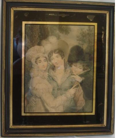 Four 19th Century hand coloured prints in black and gilt frames, and two small coloured engravings after Cosway 'Fidelity' and 'Protection'. (6)