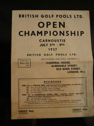 Open Championship 1937: British Golf Pools