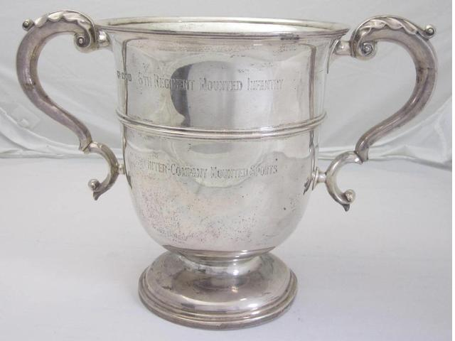 A twin handled silver presentation cup maker's mark G.H,  London 1907