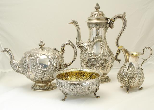 A matched Victorian four piece silver tea service  by Marshall & Sons, Edinburgh 1846/47 and 1849  (4)