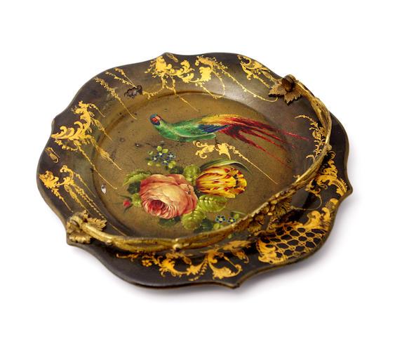 A Victorian black lacquered papier mâché dish