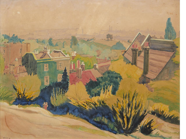 Harry Kernoff R.H.A. (Irish, 1900-1974) Views on Hampstead Heath each 24.5 x 31cm (9 3/4 x 12 1/4in) (2)