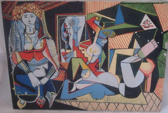 Jacqus Radot after Picasso, Figures In An Interior,oil on canvas, 34 x 45cm, unframed.