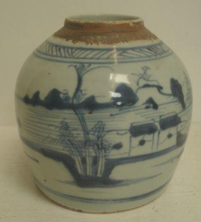 A Chinese blue and white ginger jar, painted with a water landscape, 17cm.