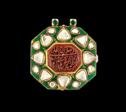 A gem-set enamelled gold Amulet Box Hyderabad or Bijapur, India, 19th Century